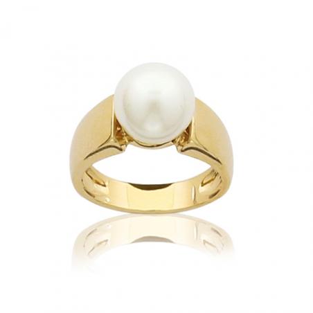 Bague plaqué or et perles d'imitations
