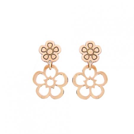 Boucles d'oreilles argent rose,  motif fleur