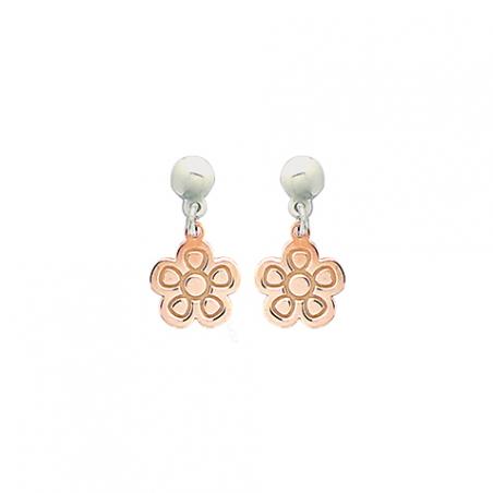 Boucles d'oreilles argent bicolore rose, motif fleur