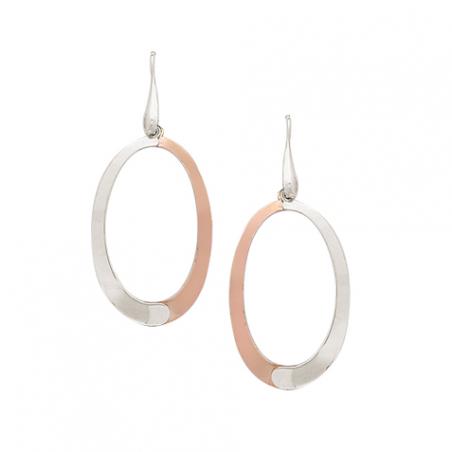 Boucles d'oreilles argent  bicolore rose, forme ovale ajourée