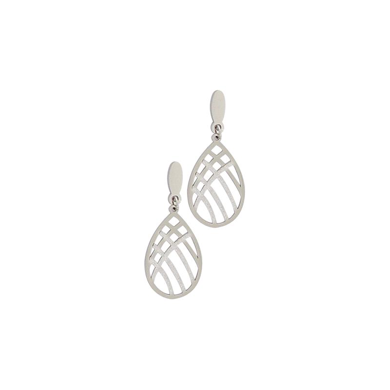 Boucles d'oreilles en acier ajourées et granitées