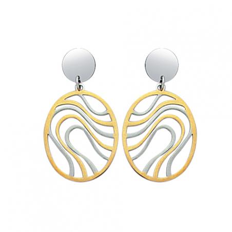 Boucles d'oreilles pendantes en acier bicolore ajouré
