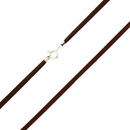 Cordon soie noir argent en 42 cm