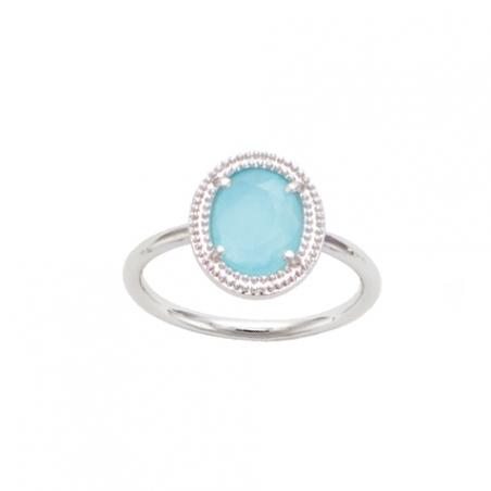 Bague en argent et cristal bleu claire, forme oval, sertie clos