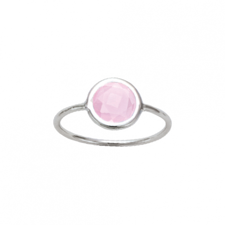 Bague en argent et cristal rose claire, sertie clos