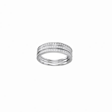 Bague en argent et oxyde de zirconium, trois anneaux