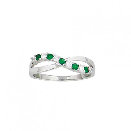 Bague en argent, anneaux croisés, oxyde de zirconium blanc et vert