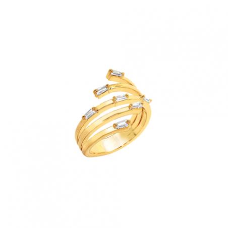 Bague en plaqué or et oxyde de zirconium, forme de baguettes, motif etincelle
