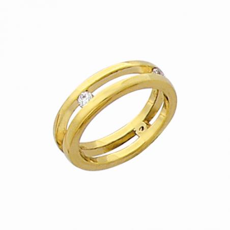 Bague plaqué or et oxyde de zirconium