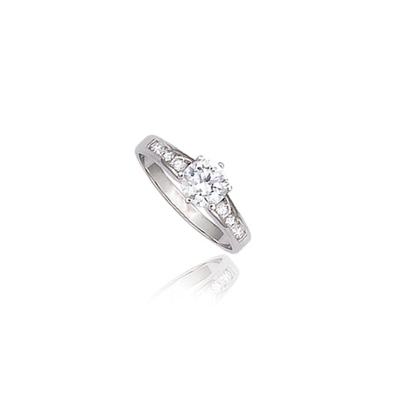 Bague solitaire en argent oxyde de zirconium forme de brillant rond et princesse