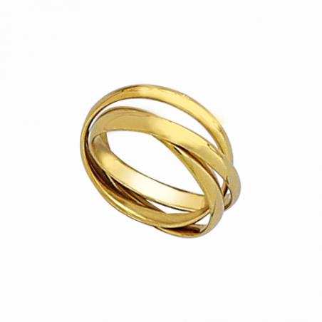Bague, alliance, 3 anneaux en plaqué or