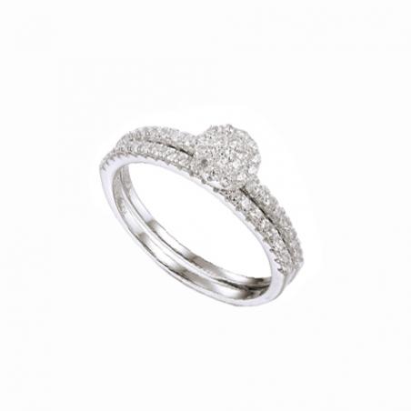Bague, en argent solitaire et double anneaux en oxyde de zirconium