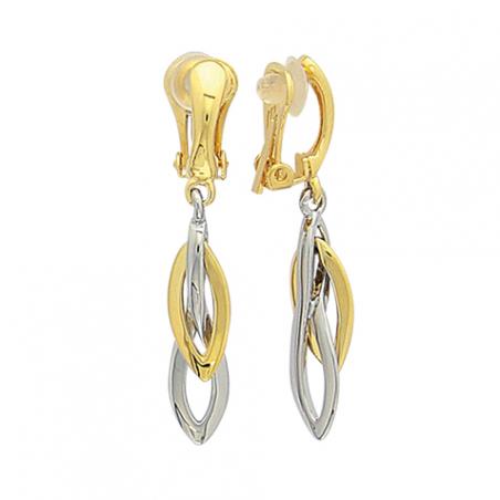Boucles d'oreilles clip pendante en acier bicolore, motifs ovales