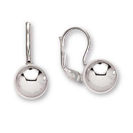 Boucles d'oreilles dormeuse en argent, motif boule