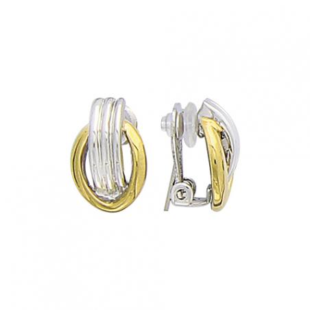 Boucles d'oreilles en acier bicolore, attache clip pour oreilles non-percées