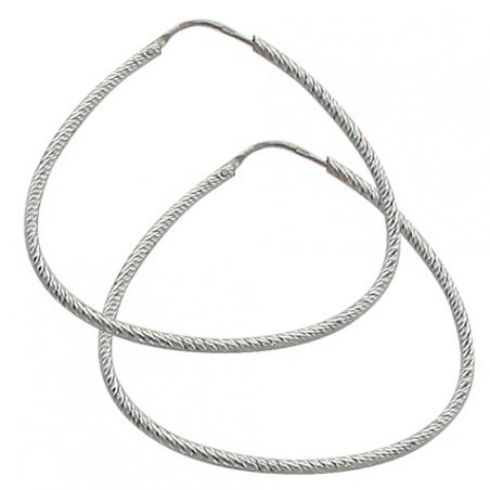 Boucles d'oreilles en argent brillant, motif triangle arrondi torsadé