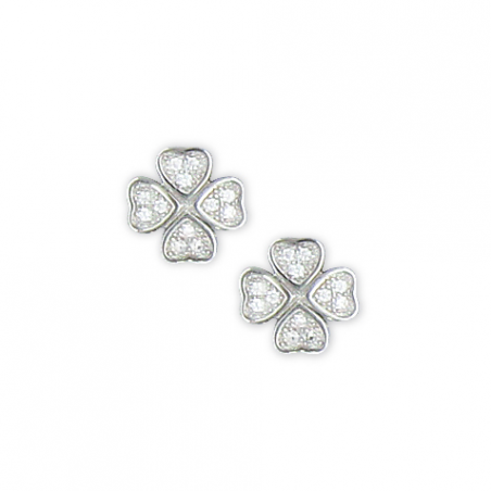Boucles d'oreilles en argent et oxyde de zirconium treffle