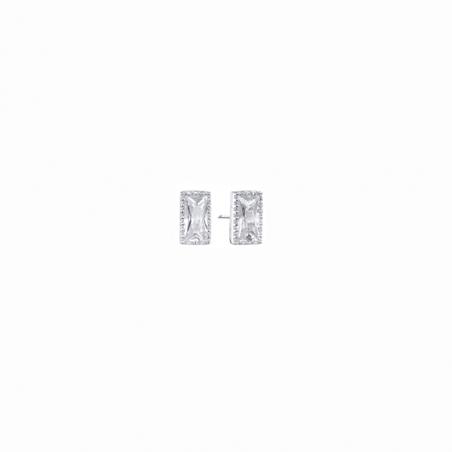 Boucles d'oreilles en argent et oxyde de zirconium, motif rectangle
