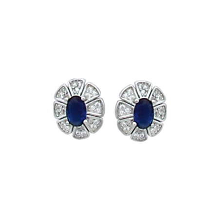 Boucles d'oreilles en argent, oxyde de zirconium bleu et blanc