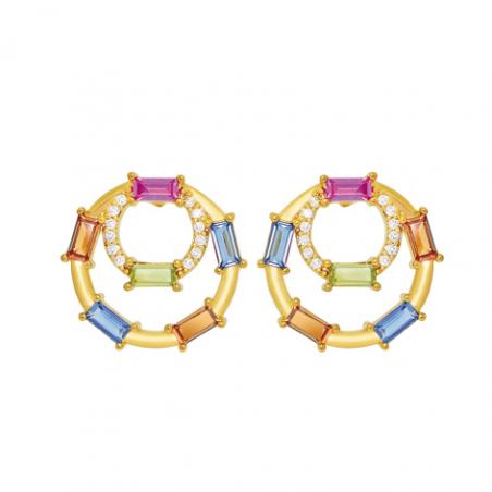 Boucles d'oreilles en plaqué or et oxyde de zirconium multicouleur