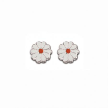 Boucles d'oreilles enfant en argent, motif fleur émaillée blanc et rouge