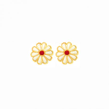 Boucles d'oreilles fleur émaillée plaqué or