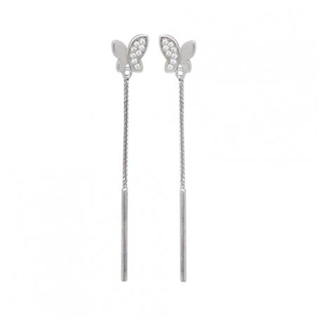 Boucles d'oreilles pendante en argent, motif papillon