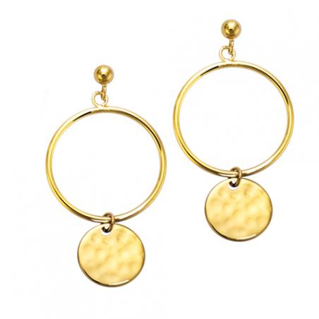 Boucles d'oreilles pendante en plaqué or, pastille martelée