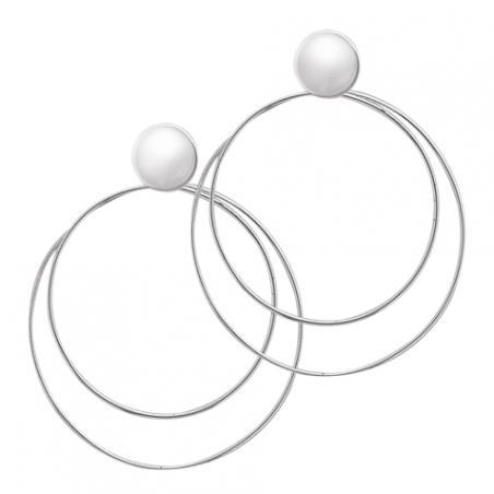 Boucles d'oreilles pendantes double créoles en argent