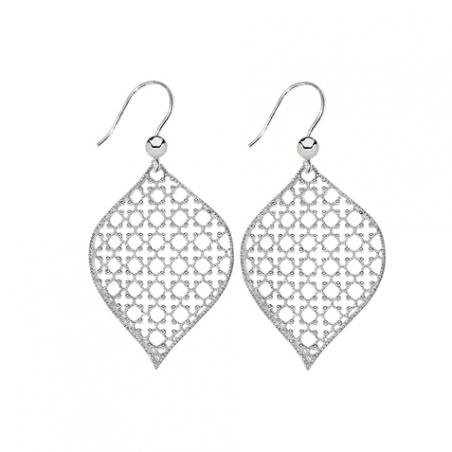Boucles d'oreilles pendantes en argent dimantée, motif grille orientale ajourée