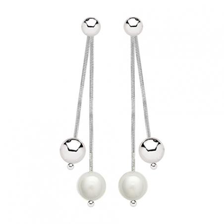 Boucles d'oreilles pendantes en argent et perles d'imitations
