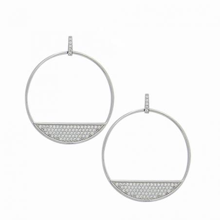 Boucles d'oreilles pendantes en argent rhodiée et oxyde de zirconium