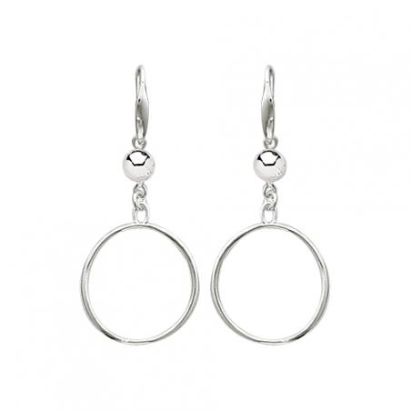 Boucles d'oreilles pendantes en argent, motif anneau