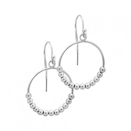 Boucles d'oreilles pendantes en argent, motif boules enfilées