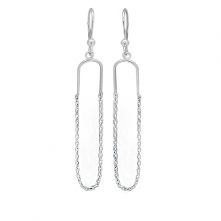 Boucles d'oreilles pendantes en argent, motif chaines