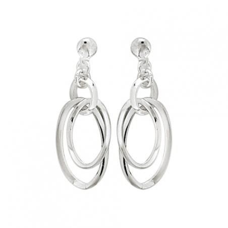 Boucles d'oreilles pendantes en argent, motif ovales