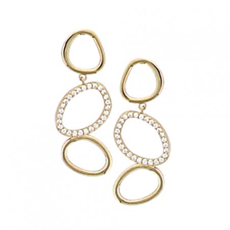 Boucles d'oreilles pendantes en plaqué or et oxyde de zirconium, motif 3 cercles ajourés