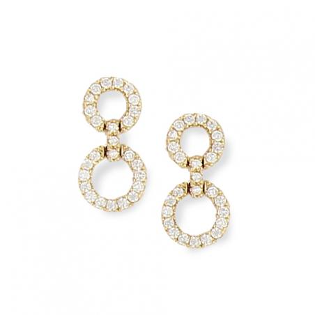 Boucles d'oreilles pendantes en plaqué or et oxyde de zirconium, motifs cercles ajourés
