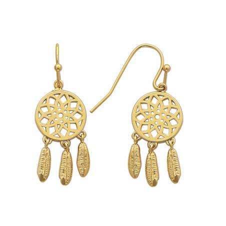 Boucles d'oreilles pendantes en plaqué or, motif attrape rève
