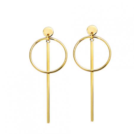 Boucles d'oreilles pendantes en plaqué or, motif anneau et baguette