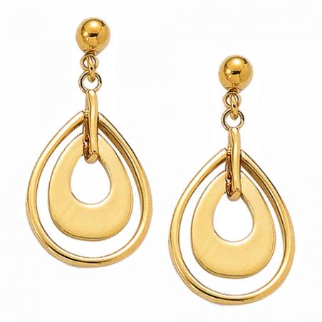 Boucles d'oreilles pendantes en plaqué or, motif gouttes
