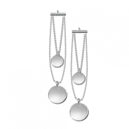 Boucles d'oreilles pendantes, en argent motif chaines et pastilles