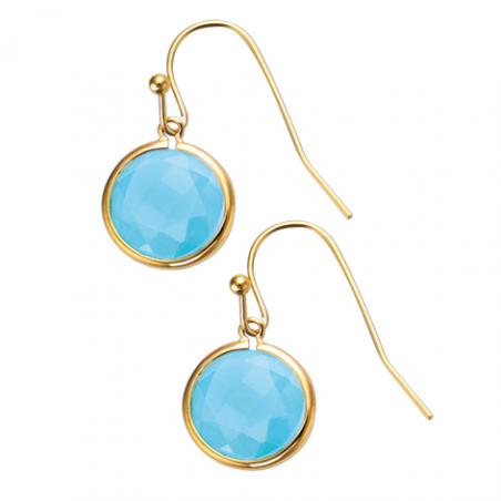 Boucles d'oreilles plaqué or pierre bleue sertie clos