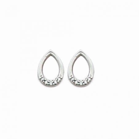 Boucles d'oreilles puce en argent et oxyde de zirconium, motif goutte ajourée