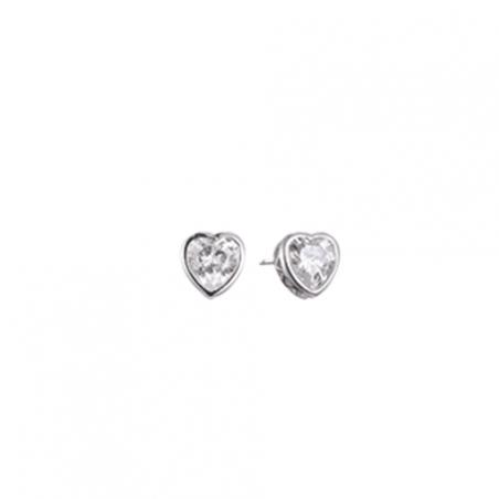 Boucles d'oreilles puces en argent et oxyde de zirconium motif coeur