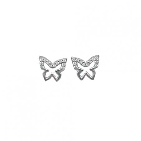 Boucles d'oreilles puces en argent et oxyde de zirconium, motif papillon