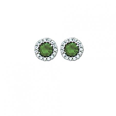 Boucles d'oreilles puces en argent oxyde de zirconium blanc et vert