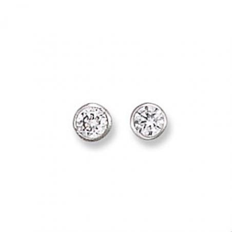 Boucles d'oreilles puces en argent oxyde de zirconium certi clos