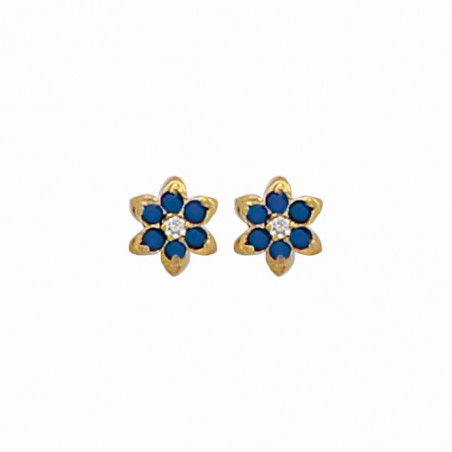 Boucles d'oreilles puces en plaqué or, oxyde de zirconium bleu et blanc