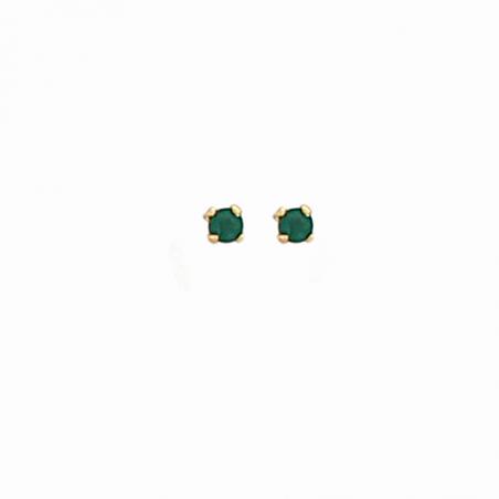 Boucles d'oreilles puces plaqué or et oxyde de zirconium vert